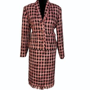 Requirements Two piece pink/ black wool suit set